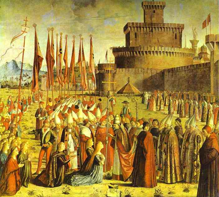 Oil painting:Legend of St. Ursula: The Meeting with the Pope. c. 1493