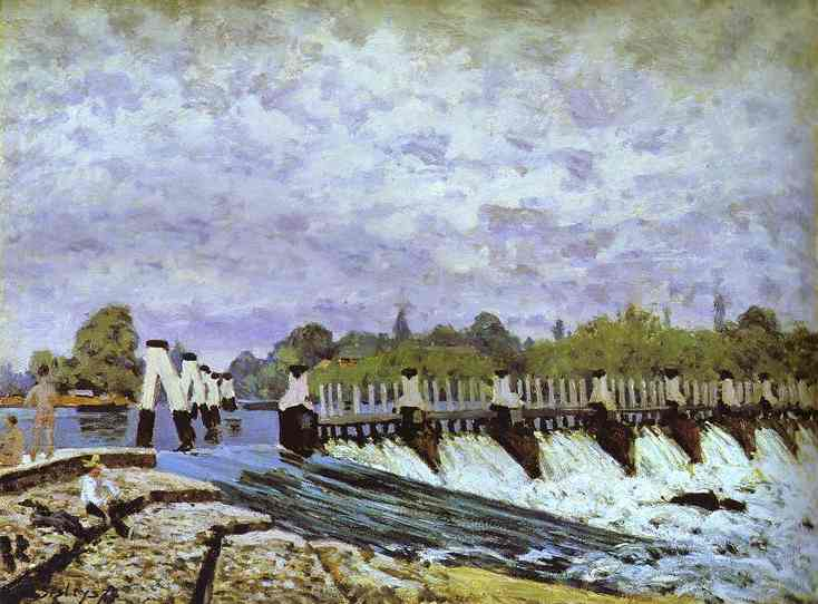 Oil painting:Molesey Weir - Morning. 1874