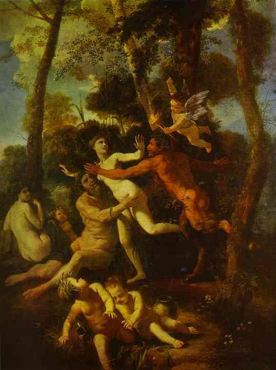 Oil painting:Nymph Syrinx Pursued by Pan.
