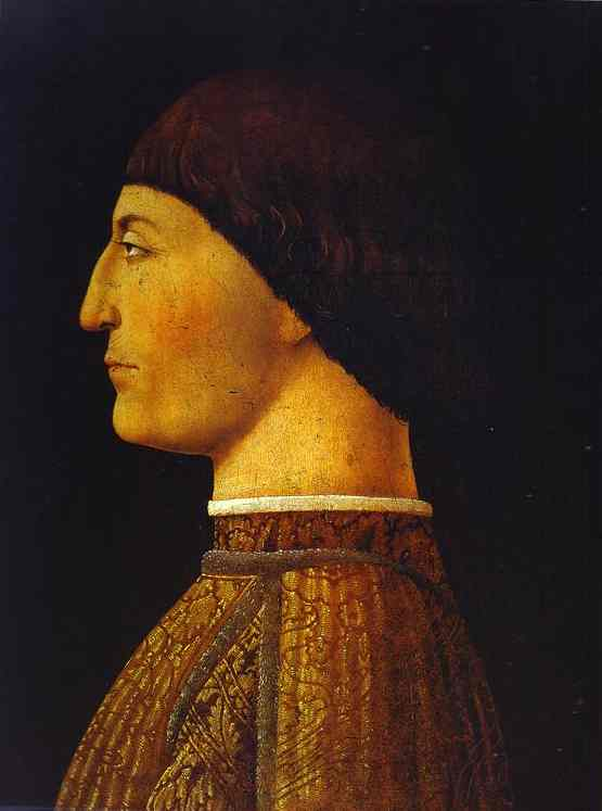 Oil painting:Portrait of Sigismondo Pandolfo Malatesta, the Prince of Rimini. 1451-1460