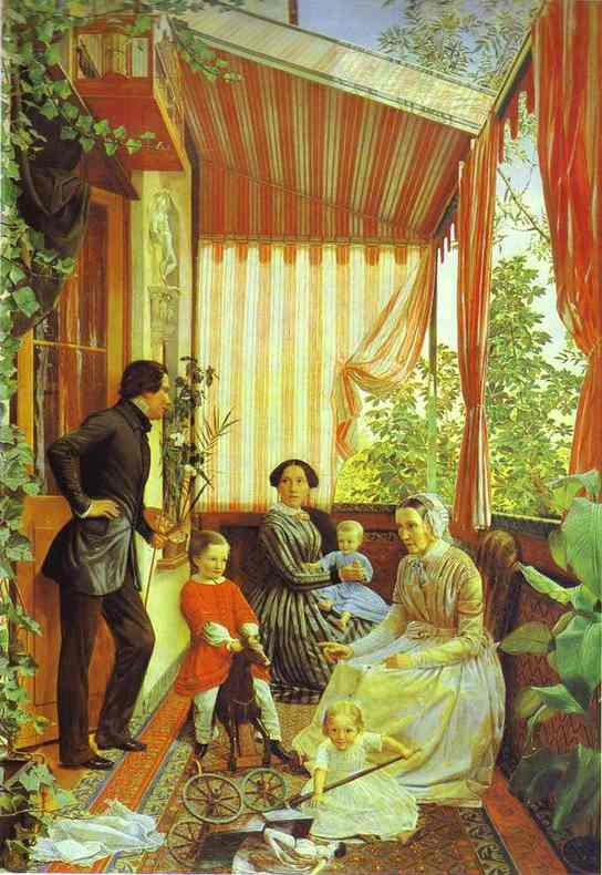 Oil painting:Self-Portrait with the Family. On the Balcony. 1851