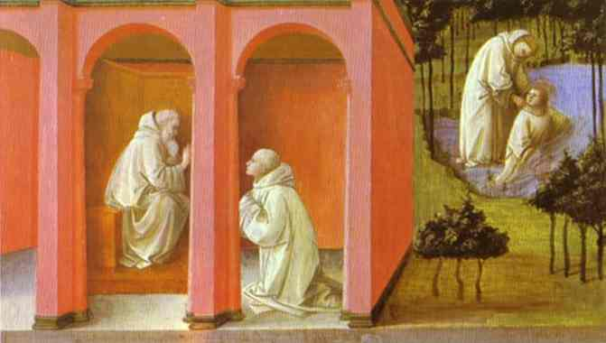 Oil painting:St. Benedict Orders St. Maurus to the Rescue of St. Placidus. c.1445