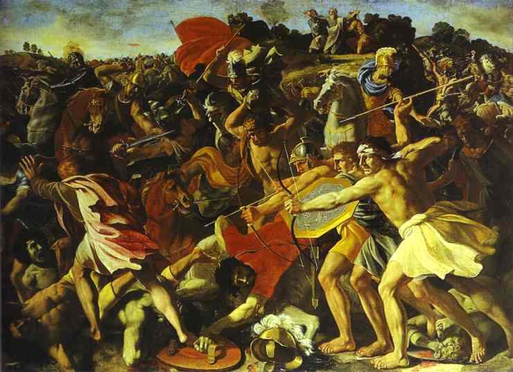 Oil painting:The Battle of Joshua with Amalekites. c. 1625
