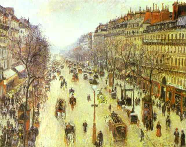 Oil painting:The Boulevard Montmartre on a Cloudy Morning. 1897