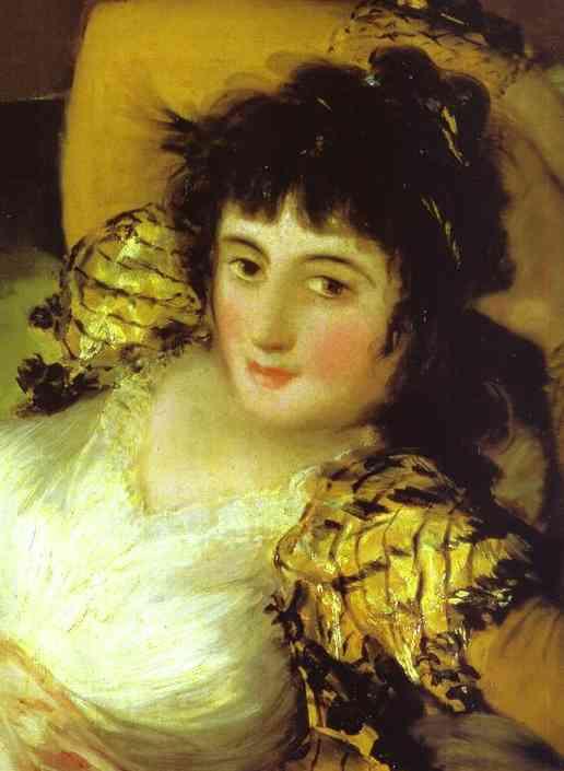 Oil painting:The Clothed Maja (La Maja Vestida). Detail. 1800