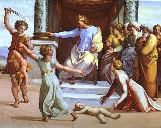 Oil painting:The Judgement of Solomon. c.1518