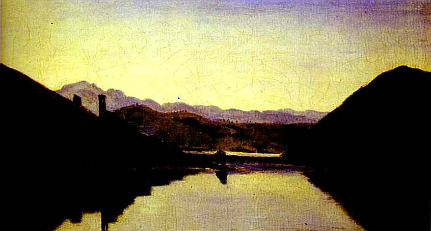 Oil painting:The Lake of Piediluco, Umbria. 1826