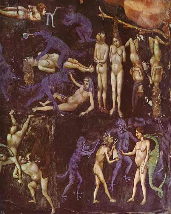 Oil painting:The Last Judgement. Detail. 1304