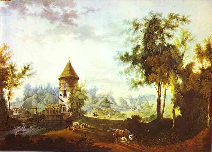 Oil painting:The Mill and the Peel Tower at Pavlovsk. 1792