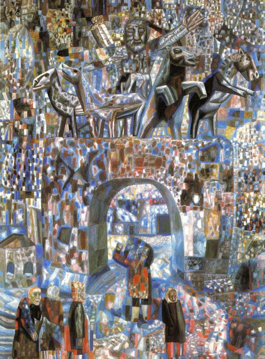 Oil painting:The Narva Gates. 1929