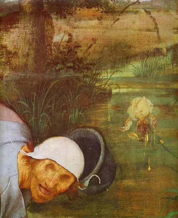 Oil painting:The Parable of the Blind. Detail. 1568
