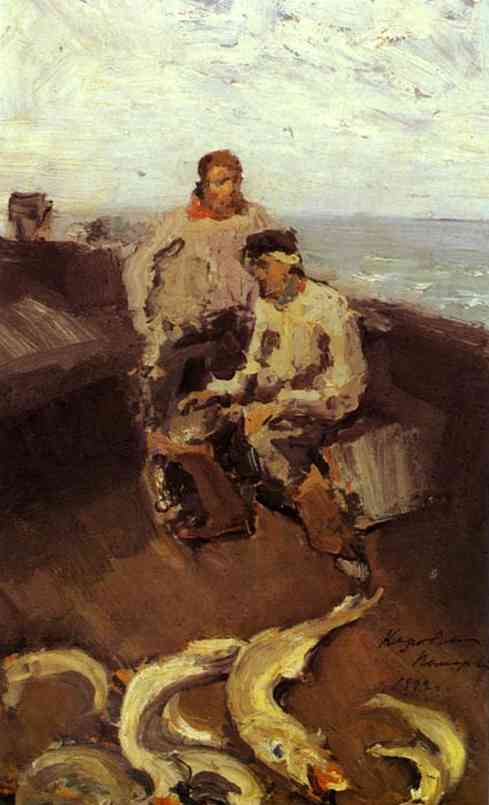 Oil painting: The Pomors. 1894