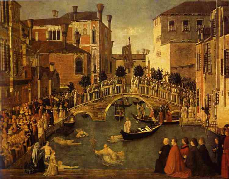 Oil painting:The Recovery of the Relic of the True Cross at the Bridge of S. Lorenzo. 1496