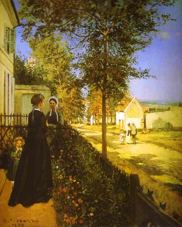 Oil painting:The Road from Versailles at Louveciennes. 1870