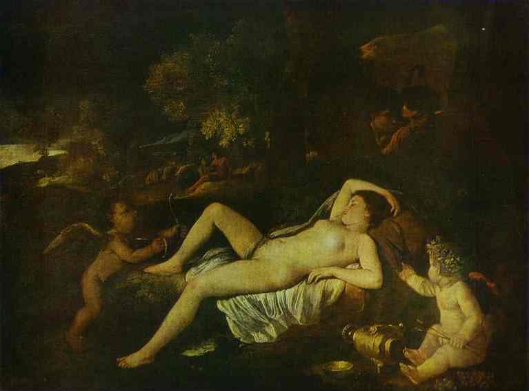 Oil painting:The Sleeping Venus and Cupid. c. 1630