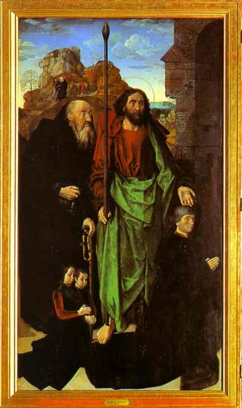 Oil painting:Tommaso Portinari with his sons and SS. Thomas and Anthony Abbot. The left panel of the