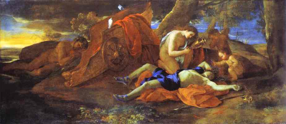 Oil painting:Venus Lamenting over Adonis. 1628
