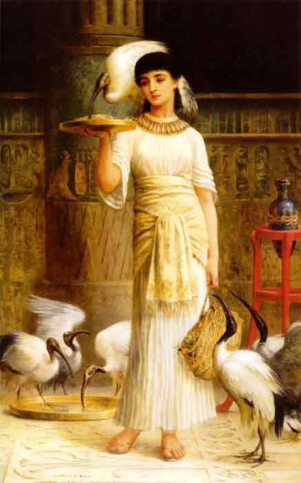 Oil painting for sale:Ale the Attendant of the Sacred Ibis in the Temple of Isis