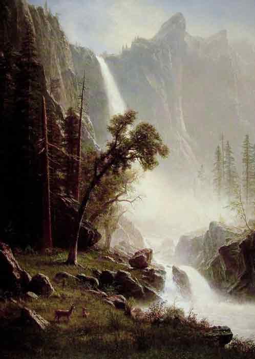 Oil painting for sale:Bridal Veil Falls, Yosemite.1871-1873