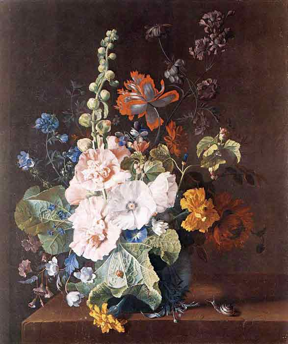Oil painting for sale:Hollyhocks and Other Flowers in a Vase, 1710