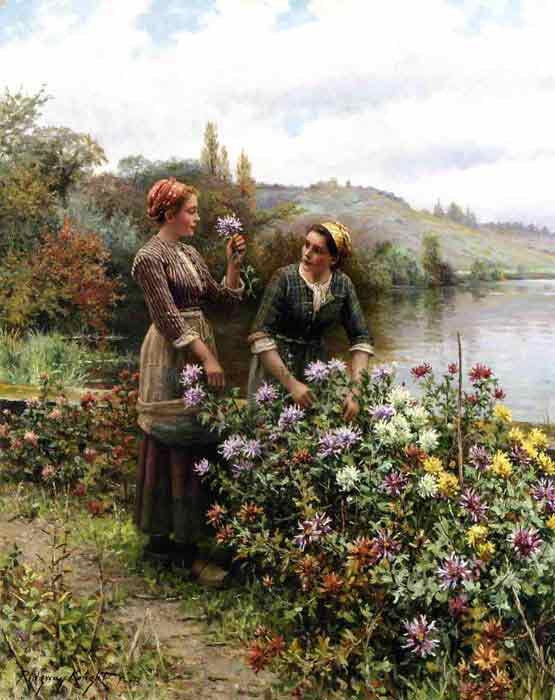 Oil painting for sale:Peasant Girls in Flower Garden