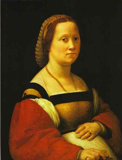 Oil painting:Portrait of a Pregnant Woman. c. 1506