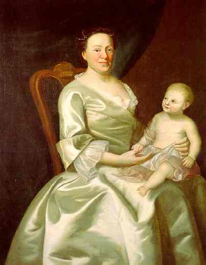 Oil painting:Portrait of Mrs. Daniel Rea and Child. 1757