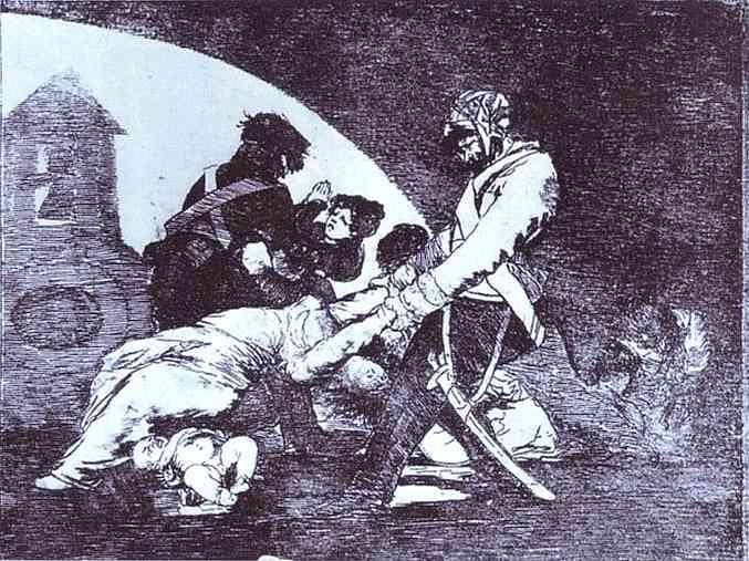 Oil painting:Desastre de la Guerra (Disasters of War) 11; Ni Por Esas. c.1810