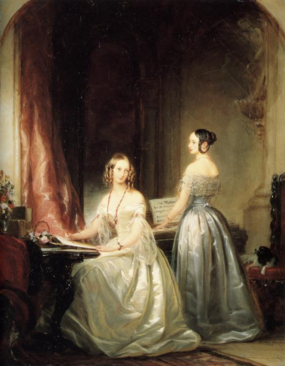 Oil painting:Portrait of Grand Duchesses Olga Nikolaevna and Alexandra Nikolaevna. 1840