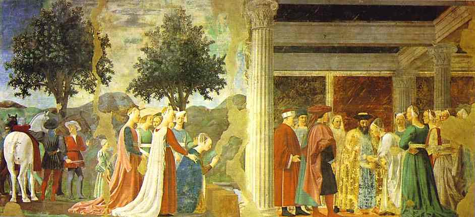Oil painting:Legend of the True Cross: Adoration of the Wood and the Queen of Sheba Meeting with