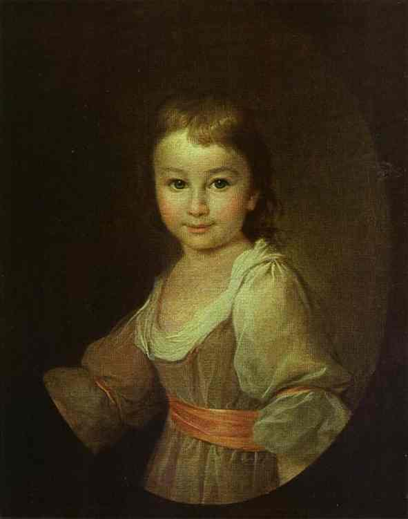 Oil painting:Portrait of Countess Praskovya Vorontsova as a Child. c.1790