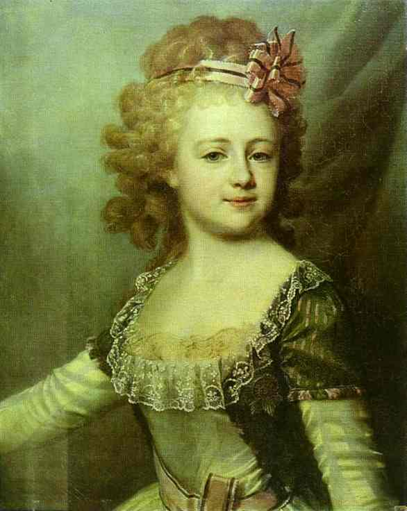 Oil painting:Portrait of Grand Duchess Alexandra Pavlovna as a Child. 1790