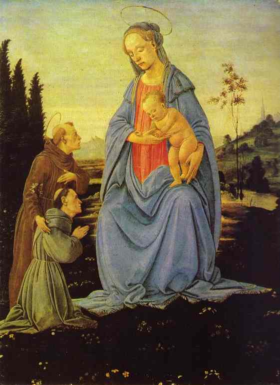 Oil painting:Madonna and Child with St. Anthony and a Monk. c.1480