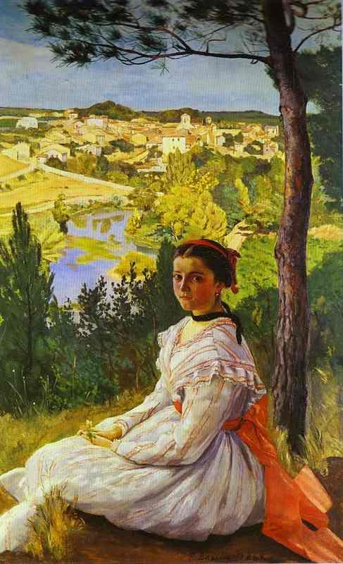 Oil painting:View of the Village of Castelnau-le-Lez. 1868