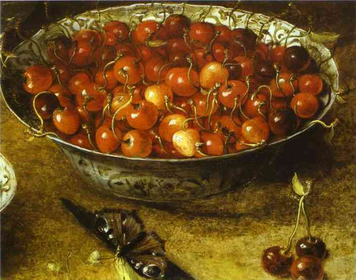 Oil painting:Still Life with Cherries and Strawberries in Porcelain Bowls. Detail. 1608