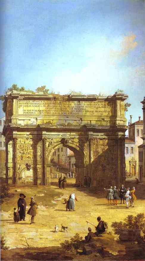 Oil painting:Rome: The Arch of Septimius Severus. 1742