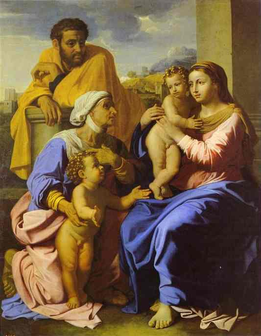 Oil painting:Holy Family with John the Baptist and St. Elizabeth. 1644