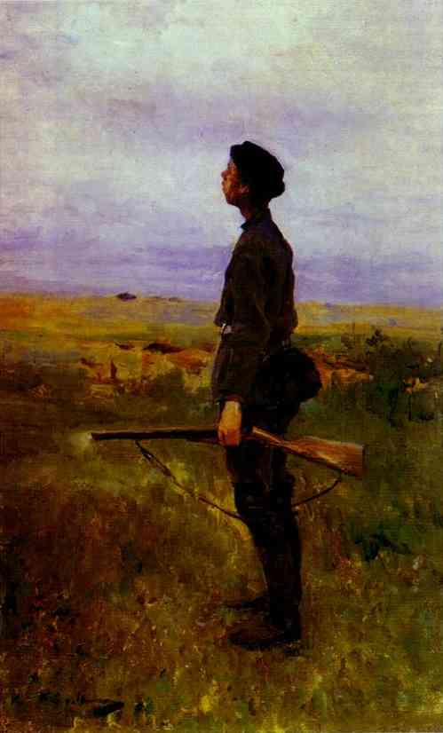 Oil painting: A Poor Shot. 1880