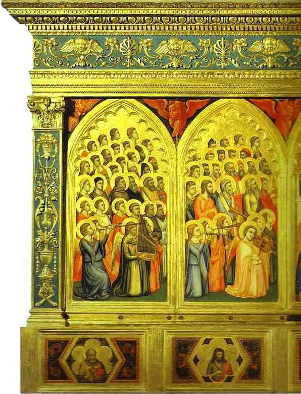 Oil painting:Baroncelli Polyptych. Detail, left part. 1334