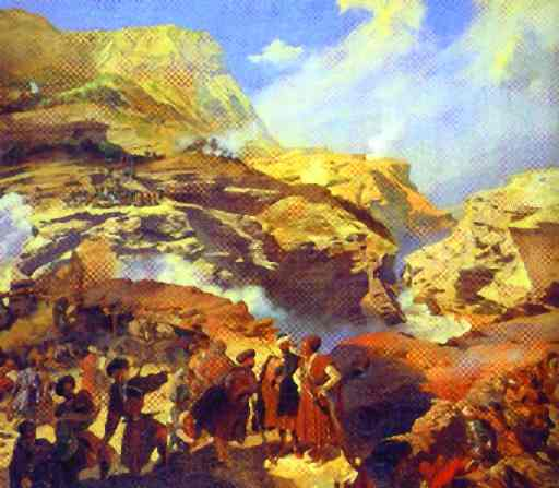 Oil painting:Battle of Akhatle between Russians and Circassians on May 8, 1841. 1841-1842