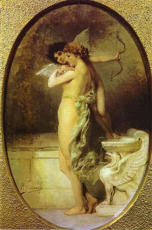 Oil painting:Beauty and Love. 1894