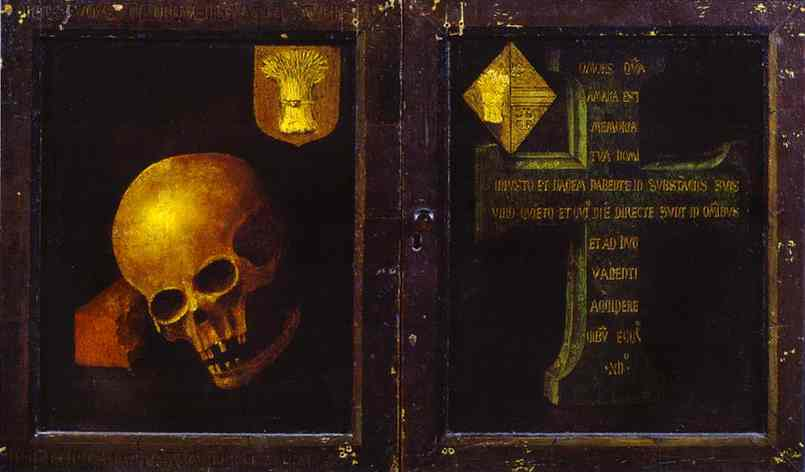Oil painting:Braque Triptych. Outer wings. c.1450