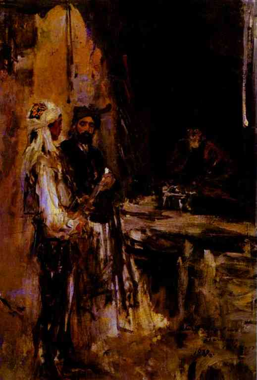 Oil painting: Buying a Dagger. 1889