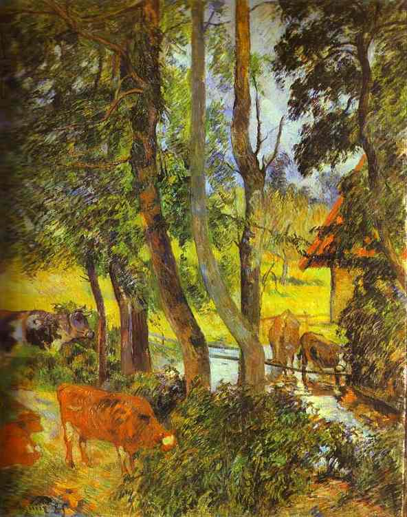 Oil painting:Cattle Drinking. 1885
