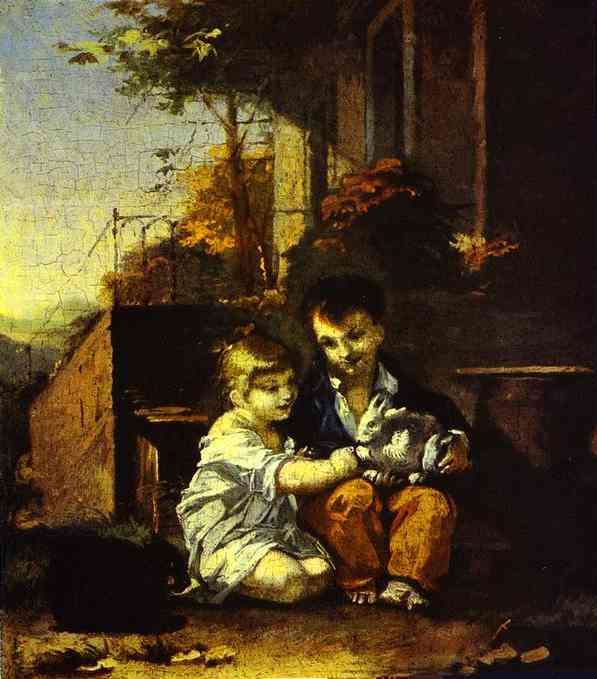 Oil painting:Children with Rabbit. c. 1804