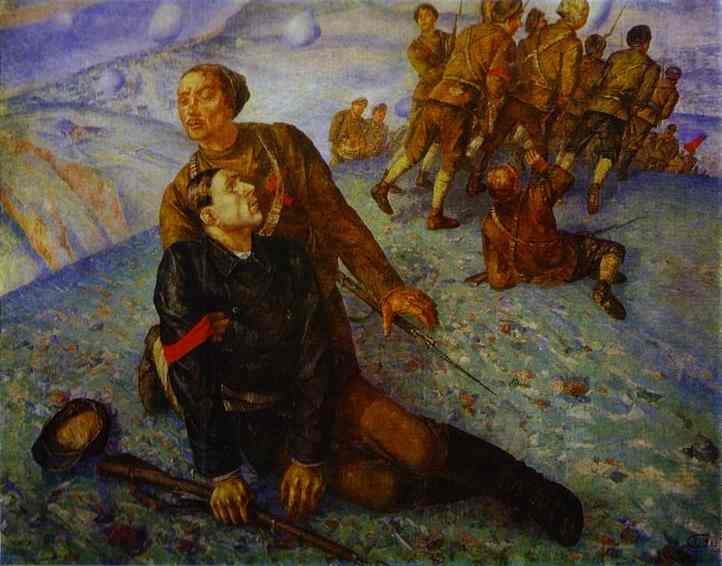Oil painting:Death of Commissar. 1928