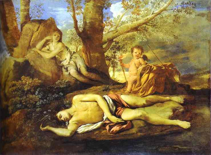 Oil painting:Echo and Narcissus. c.1627