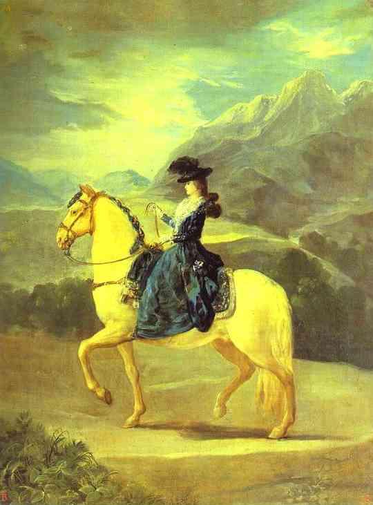 Oil painting:Equestrian Portrait of Dona Maria Teresa de Vallabriga. 1783