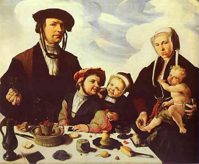 Oil painting:Family Portrait. c. 1530