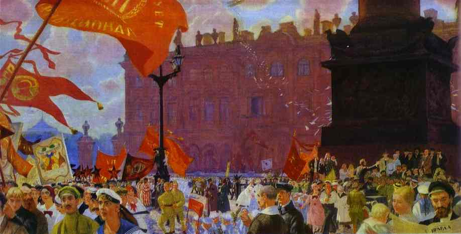 Oil painting: Festival of the II Congress of Comintern on the Uritsky Square in Moscow. 1921